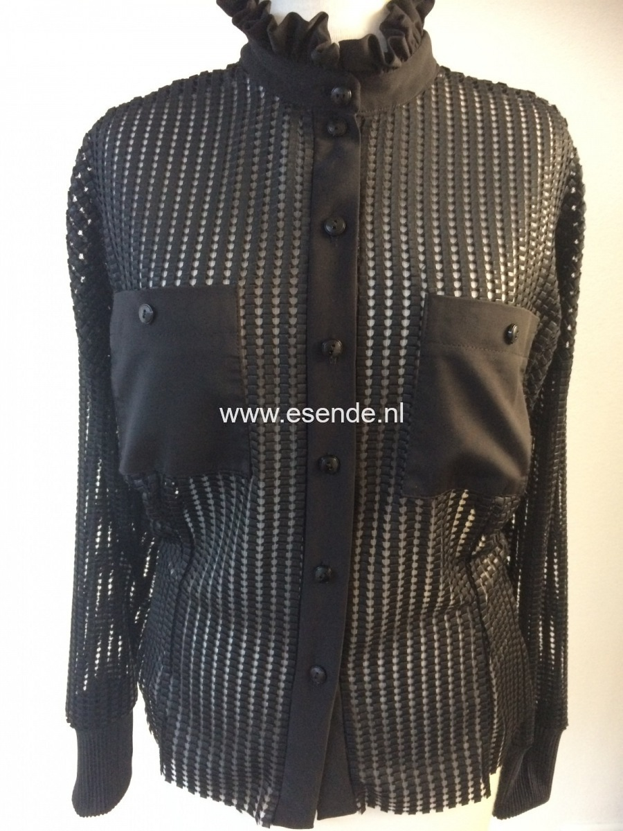 Bloes van  mesh black leather on tule