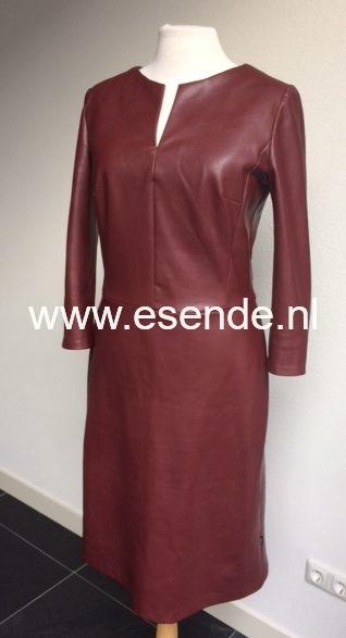 Bordeaux rode imitatie leren jurk