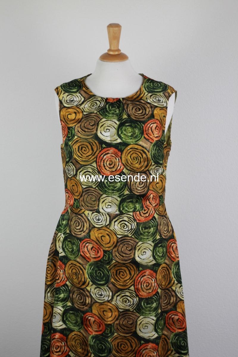 100% Zijde jurk in prachtige herfsttinten