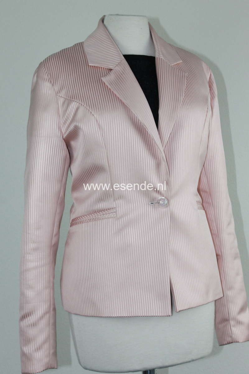 Roze colbert jasje met reverkraag