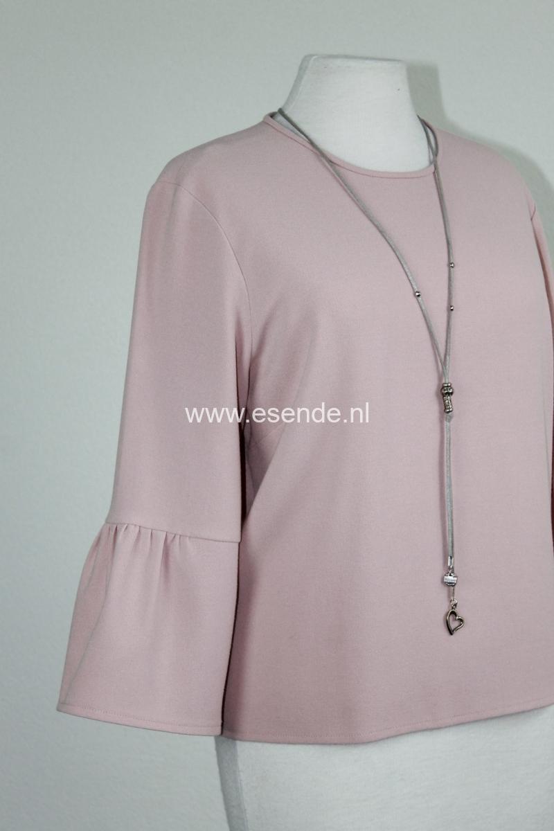 Roze bloesshirt  met mouw volant