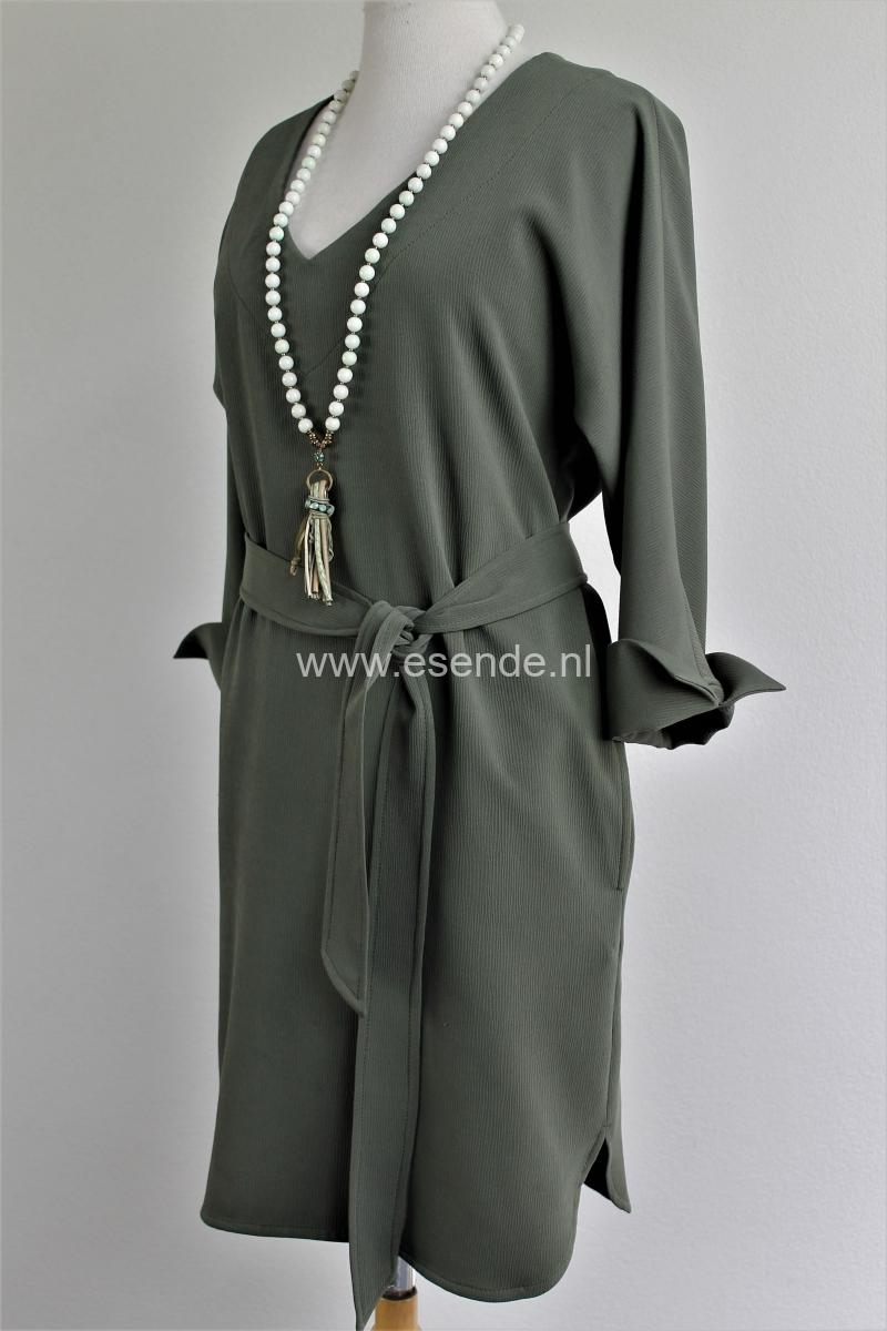 Ruime tuniek jurk met strik ceintuur