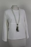 Off white shirt met ronde hals