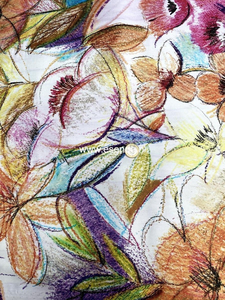 97% katoen 3% elastan met grote  bloemprint