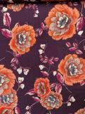 Aubergine en bloemenpracht in roodtinten jersey